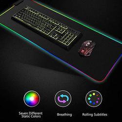 Luminous Gaming Mouse Pad Berwarna-warni Besar Bersinar USB LED Diperpanjang Illuminated Keyboard PU Non-Slip Selimut