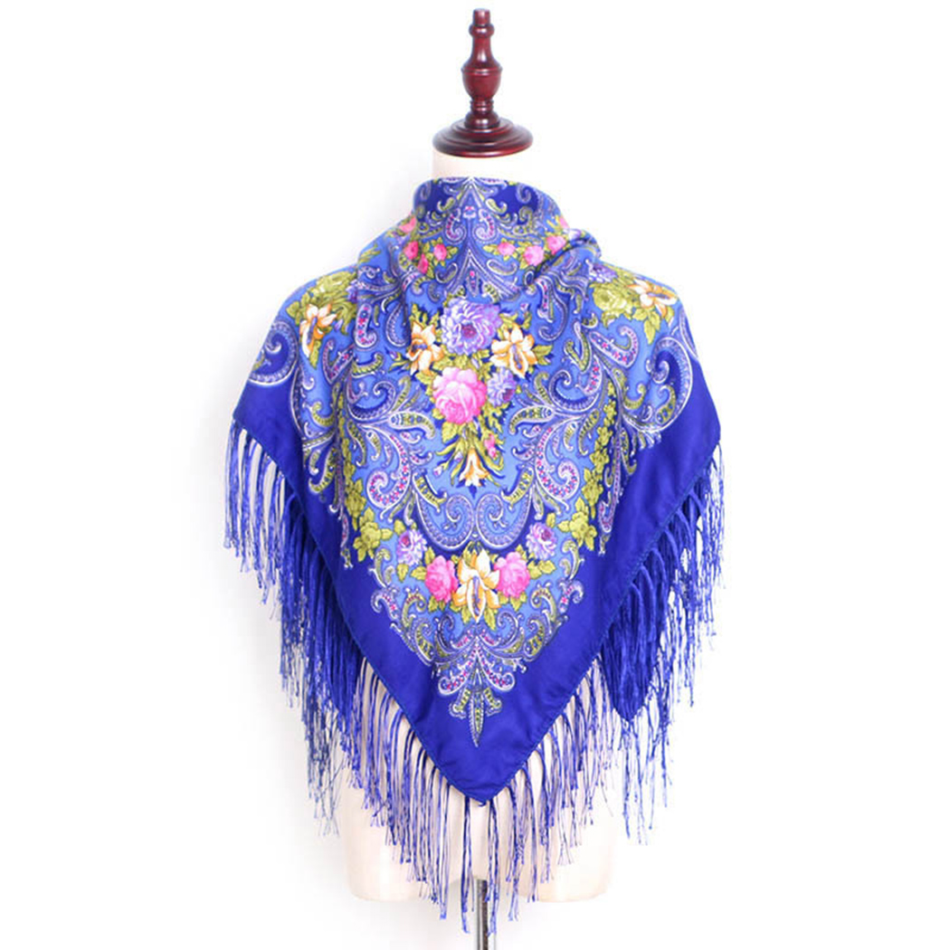 Russian Ethnic Style Women Square   Scarf   Floral Print Tassel   Scarf   Retro Flower Cotton Blanket Shawl Fashion Ladies   Scarves     Wraps
