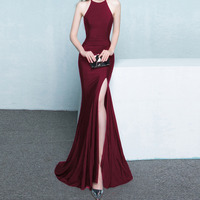 0717# Bride Toast Serve 2017 New Pattern Fashion Long Fund Red Fish Tail Halter Marry Banquet Dress Even