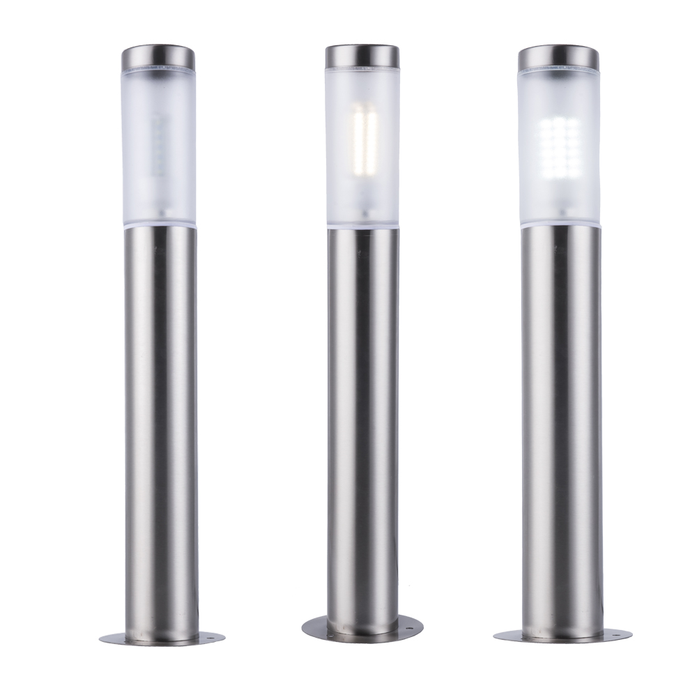 led Garden Light path way lawn lamp with E27 bulb inside Stainless Steel Outdoor Led Landscape Yard lights include 7W Bollard