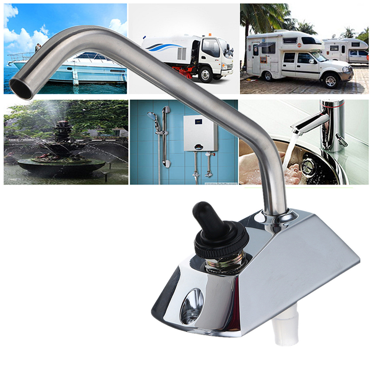 DC12V RV Water Pump Galley 360 Rotation Faucet Tap With Switch Kit For Caravan Boat Electric Water Pump High Pressure Pump