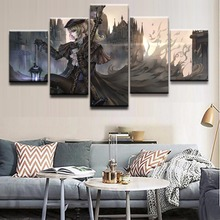 Home Decor Print Canvas Oil Painting 5 Panel Game Bloodborne Maria Warrior Wall Art Picture Living Room