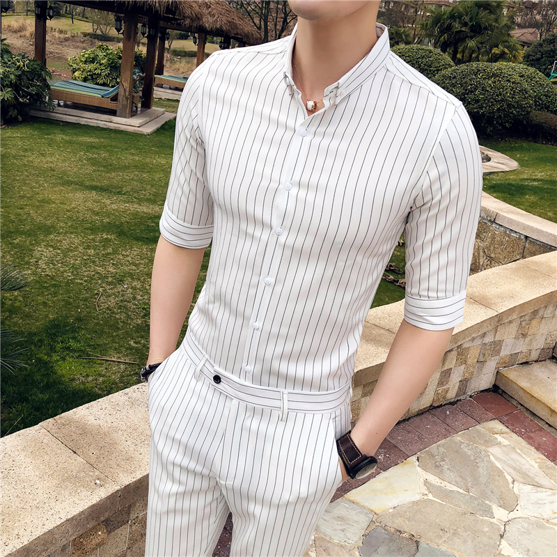 White Men Short Shirt With Pant Fashion British Style Slim Fit Striped Business Formal Shirts Men Suit Casual Host Dress Tuxedo