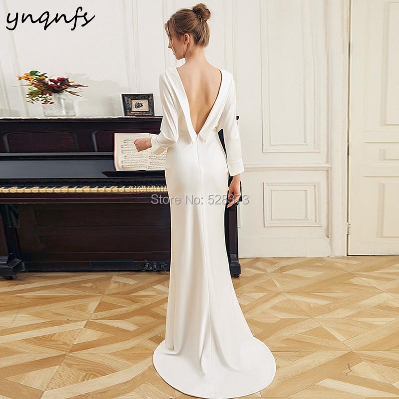 YNQNFS W104 Vintage Bowl Neck Long Sleeve   Bridesmaid     Dresses   Satin Mermaid Backless Simple Boho Wedding Party   Dress   Formal Gown