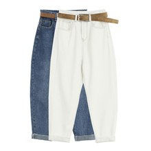 New Women Jeans Blue White Harem Pants Spring Autumn Washed Denim Pants Female Autumn Loose Casual Jeans Vaqueros Mujer