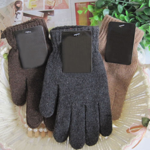 1pair Fashion Winter Men Gloves Casual Warm Knitted Patchwork Mittens Jacquard Solid Driving Gloves Free Size