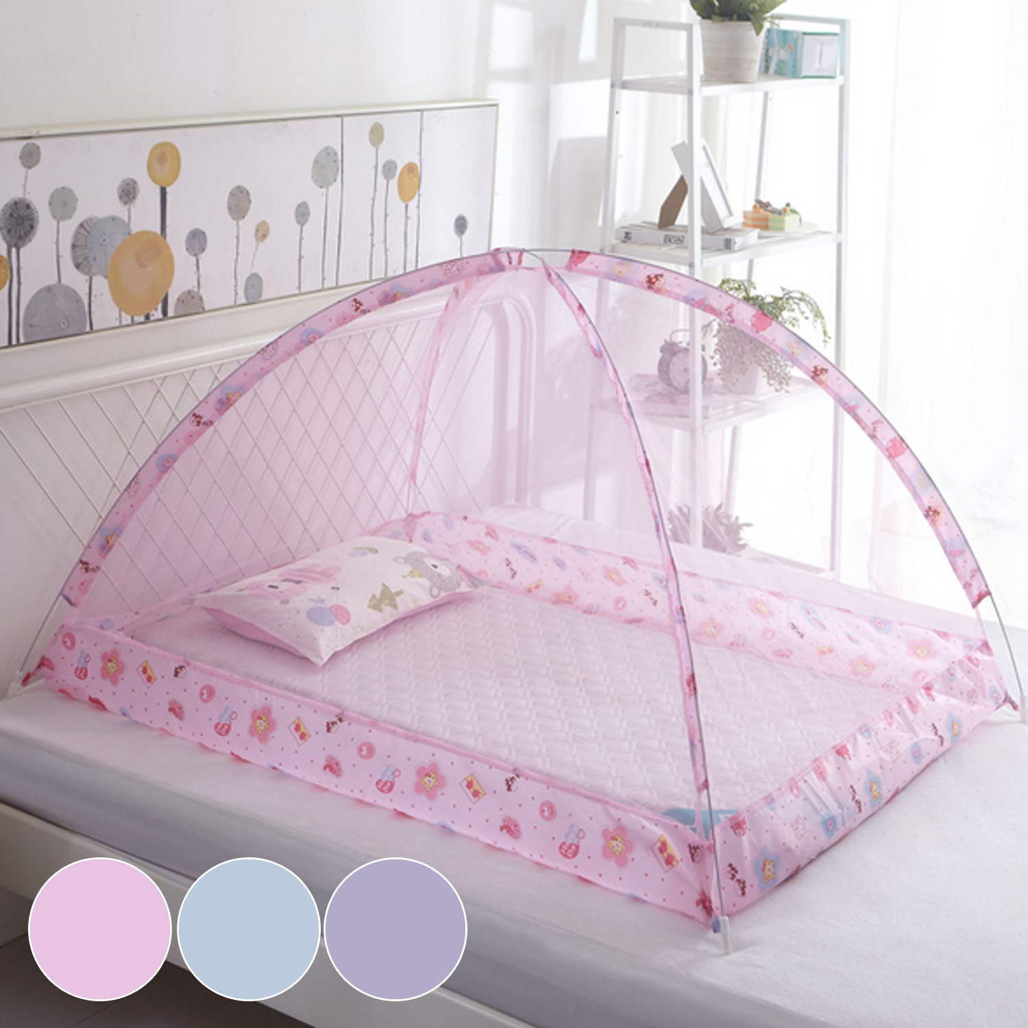 Portable Folding Baby Bed Mosquito Net Baby Kids Summer Cradle Bed Crib Sleeping Anti Mosquito Mesh Mongolian Mosquito Net Tent
