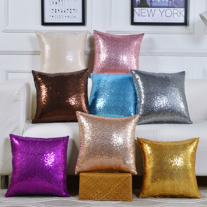Cushion Cover 40*40 Mermaid Glitter Pillow with Sequin Pillowcase Decorative Pillows cover cojines decorativos para sofa 40561(China)