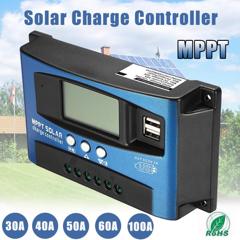 MPPT 30/40/50/60/100A controlador de carga Solar Dual USB pantalla LCD 12 V 24 V V regulador de cargador de Panel Solar automático con carga