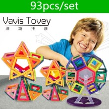 Vavis Tovey 93pcs Mini DIY Variety magic magnet pulling Magnetic building blocks assembled gifts children