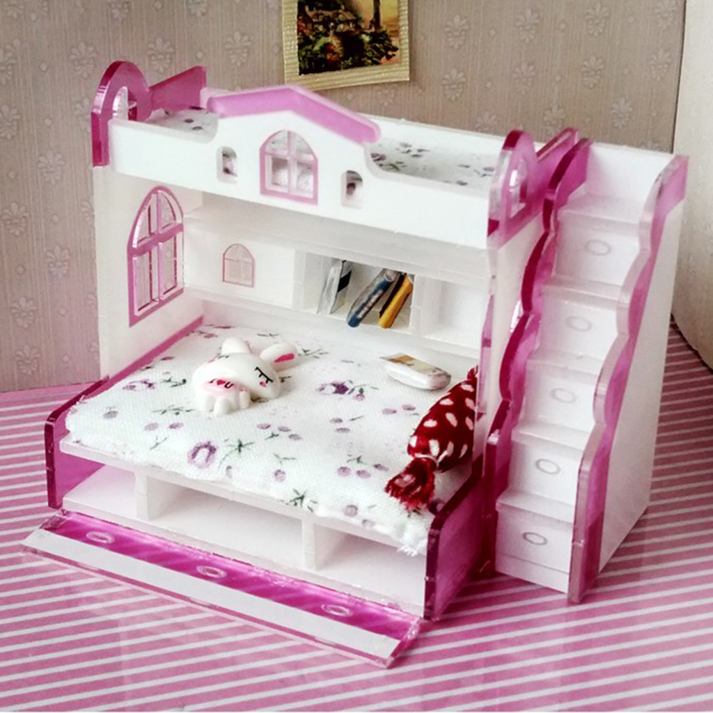 US $9.46 26% OFF|1/12 Dollhouse Miniature Children Bedroom Furniture Bunk  Bed Double Bunk With Accessories Purple Color For Little Girls Present-in  ...