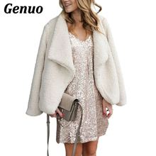 Genuo Women's Fur Parka Jackets Winter Coat Women Cardigans Ladies Warm Jumper Fleece Faux Fur Coat Hoodie Outwear Blouson Femme