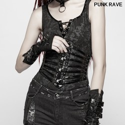 Gothic Accessories Metal Corns Sexy Tight Girdle Fashion Novelty Leather Hollow out slim Black Women Vest belt PUNK RAVE S-273