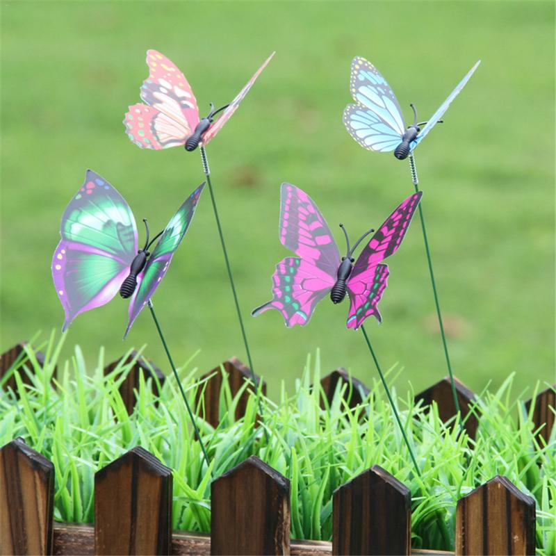 10 Pcs 3D Colorful Butterfly On Sticks Home Garden Decoration For Yard Lawn Balcony Outdoor Flowerpot Plant DIY 3D Lawn Craft