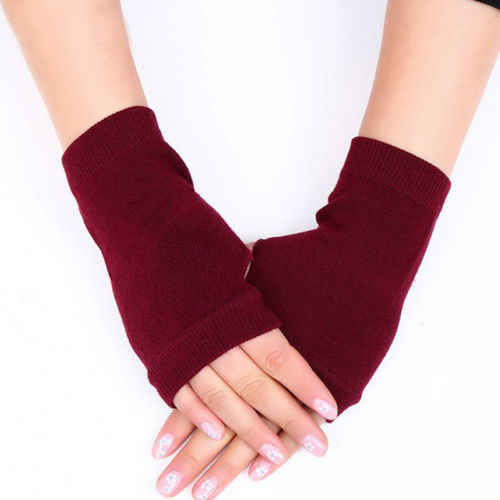 1 คู่ผู้หญิงนุ่มอุ่นแขนป้องกันแคชเมียร์ Fingerless ฤดูหนาวถุงมืออุ่น Mittens สีดำสีแดงสีเขียว
