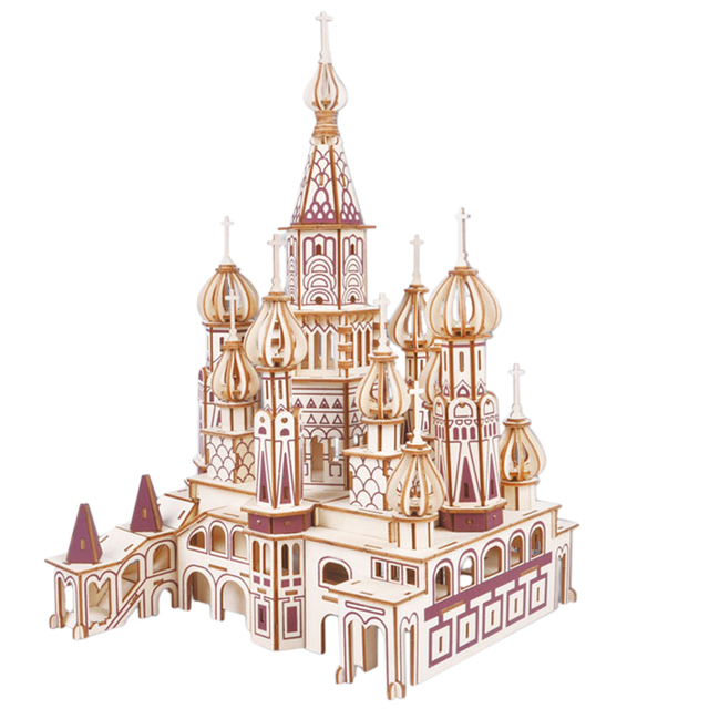 DIY Russian Castle 3D Wooden Simulation Puzzle Model Toy For Develop Intelligence Puzzle Game Assembly Toy Gift For Children Kid