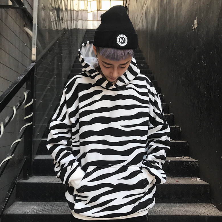 Women's Clothing 2019 New Spring Gagarich Autumn Winter Korean Hoodie Women Ins Coat Zebra Striped Top Jacket Long Sleeve Women Clothes
