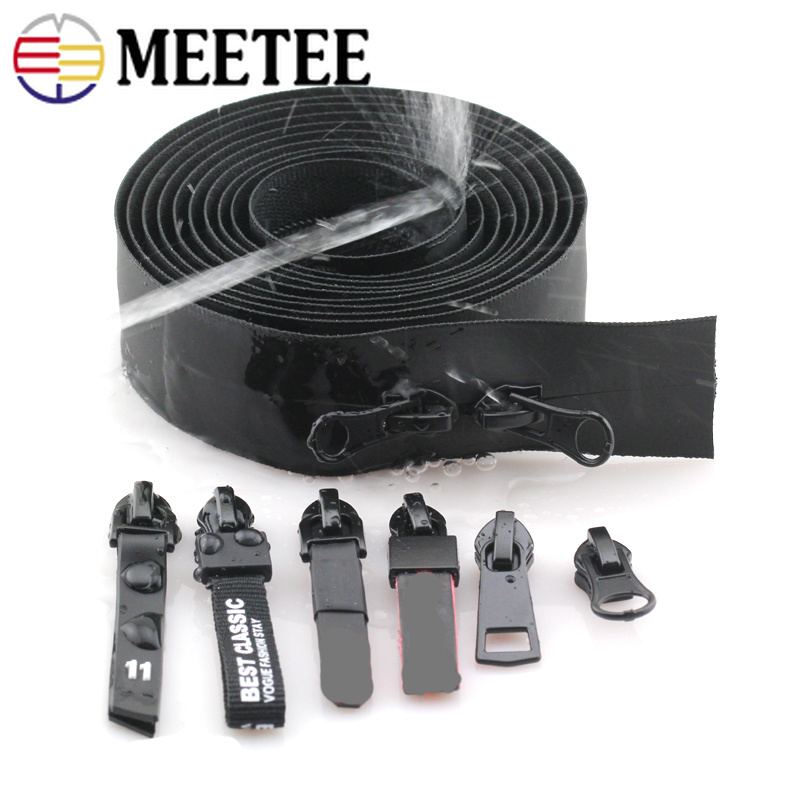 Meetee 2meters 3# 5# Invisible Reverse Nylon Coil Waterproof Zippers for Backpack Shoes Jacket DIY Sewing Accessories Zip