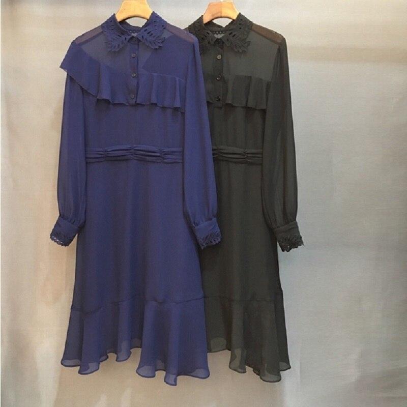 Robe Col Mode Partie Noir down À Bleu Qualité Élégantes Top Volants Femmes Ol 2019 Robes Longues Été Manches Turn De Printemps ZlOXkTuwPi