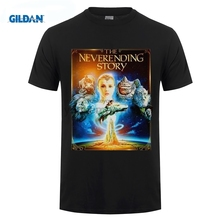 GILDAN Button Down Shirts Gildan Crew Neck The Neverending Story 3 Dragon White Black Short-Sleeve Office Mens Tee gildan футболка