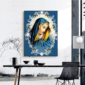 Huacan DIY Diamond Painting Religion Full Square Rhinestone 5D Diamond Embroidery Cross Stitch Mosaic Painting