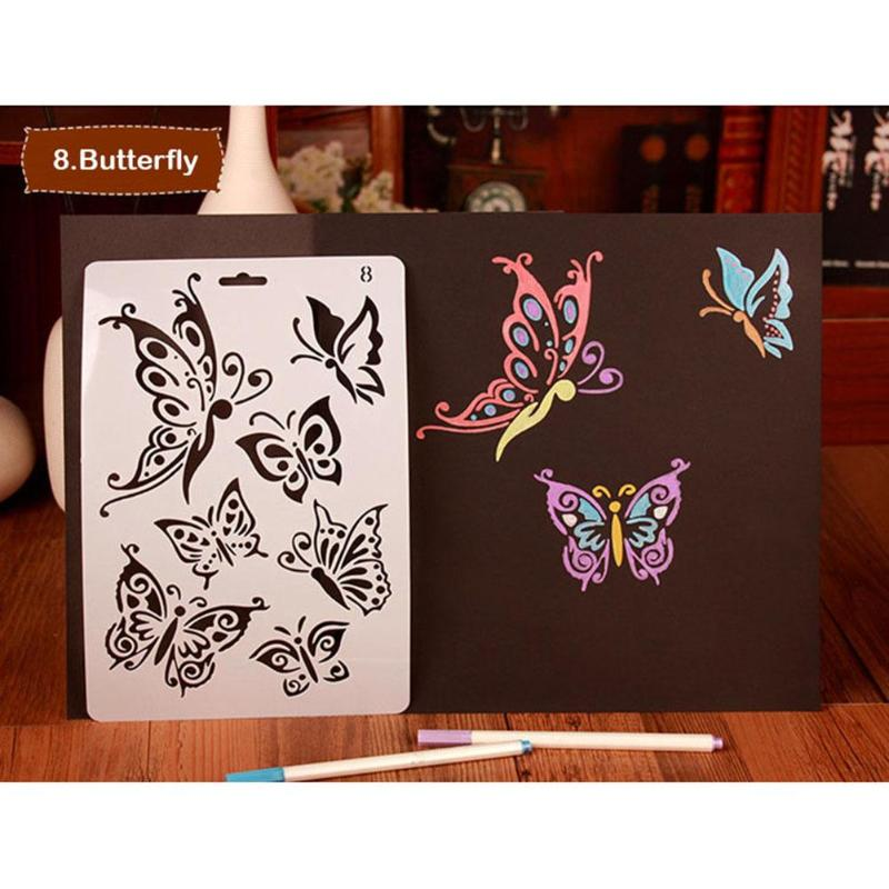 Hollow Template Drawing Painting Tools Stencils Beautiful Butterfly Theme For DIY Scrapbooking Plastic Ruler Photo Album Decor