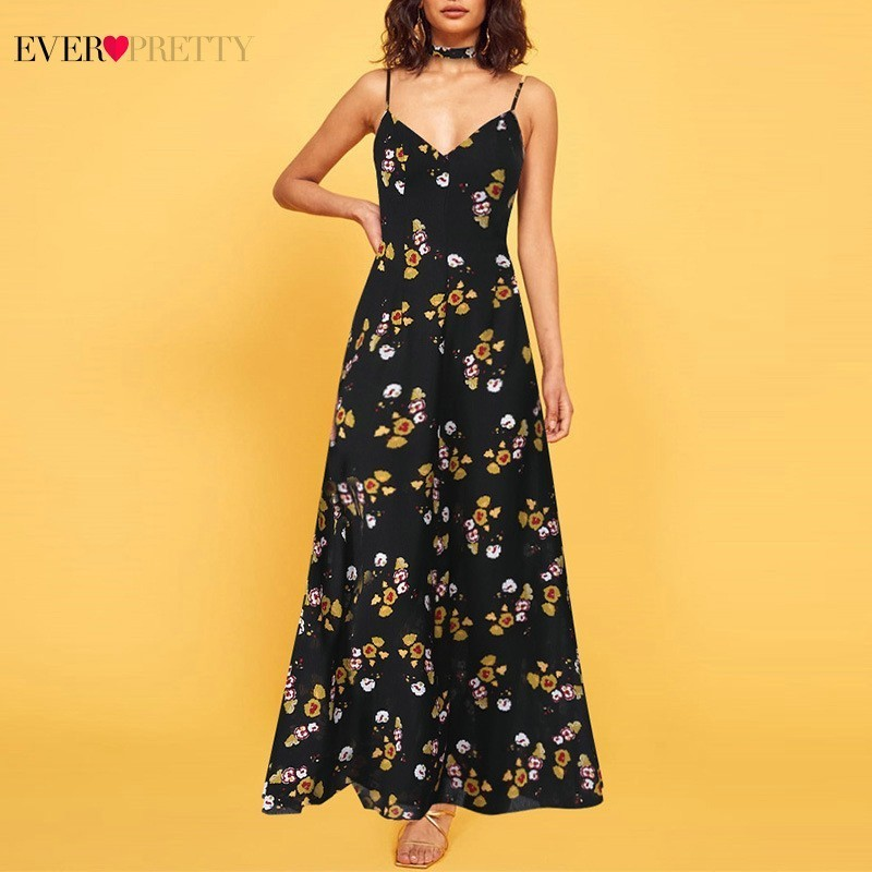New Black Long Prom Dresses 2020 Ever Pretty AS07032BK A-Line Floral Print Spaghetti Strap Women Maxi Summer Beach Dresses 2020