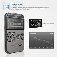 Profesjonalne HD dyktafon cyfrowy jeden przycisk nagrywania redukcja szumów dyktafon USB akumulator 8G o dużej pojemności rejestrator