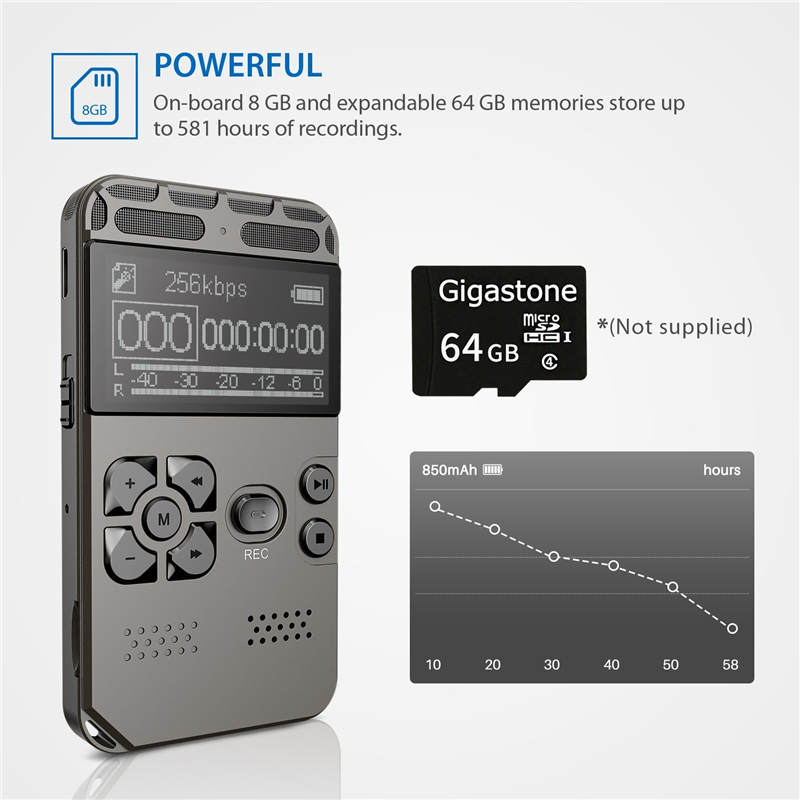 Professional HD Digital Voice Recorder One-button Record Noise Reducation Dictaphone USB Rechargeable 8G Large Capacity Recorder