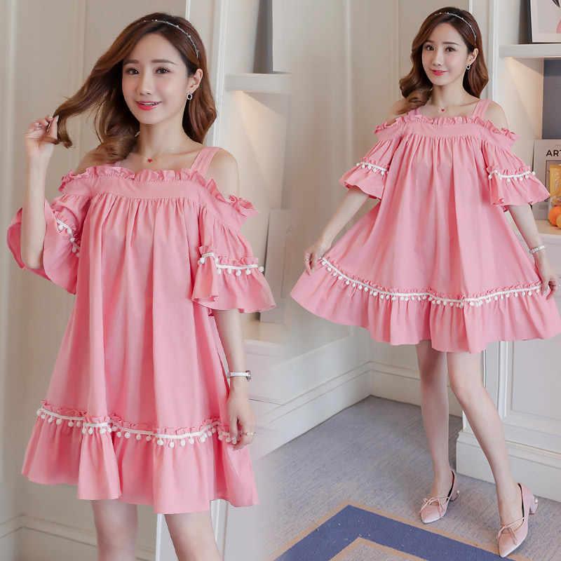2019 kobiety w ciąży sukienka krótka krótki flare rękaw bez ramiączek bawełniane koszule ciążowe słodkie plisowana patchwork pomponem bluzki sukienka