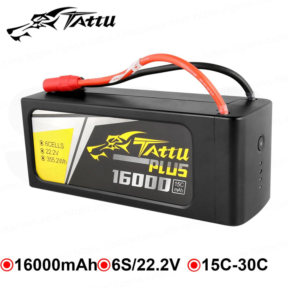 TATTU <font><b>16000mAh</b></font> <font><b>Lipo</b></font> Batteries <font><b>4S</b></font> 6S 15C Max 30C 14.8V 22.2V 22.8V Batteria Pack for Quadapter UAV Drone Long Size Tattu Plus image