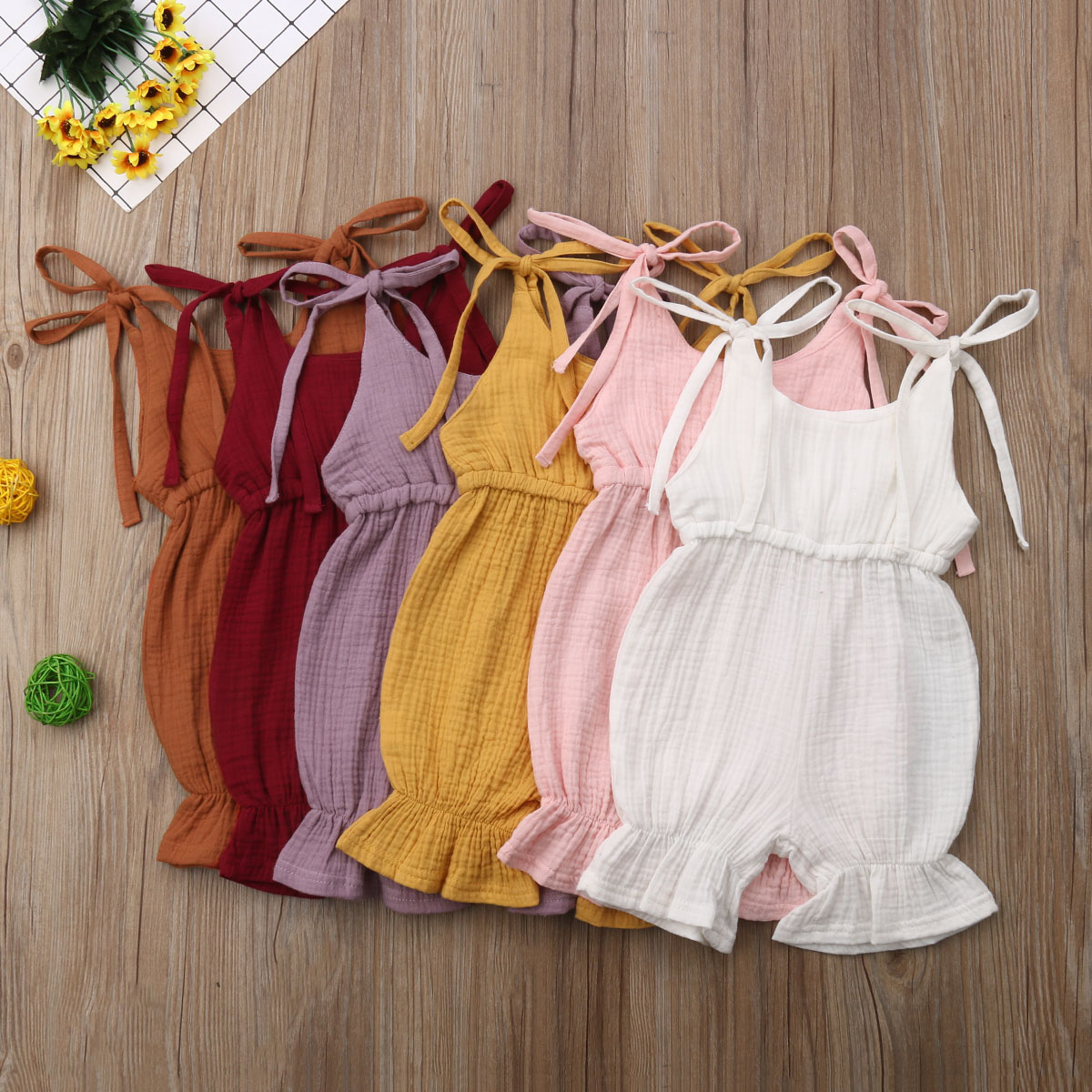 One Piece Loose Solid   Romper   For Girls Newborn Toddler Baby Summer Strap   Romper   Sleeveless Jumpsuit Outfit Sunsuit