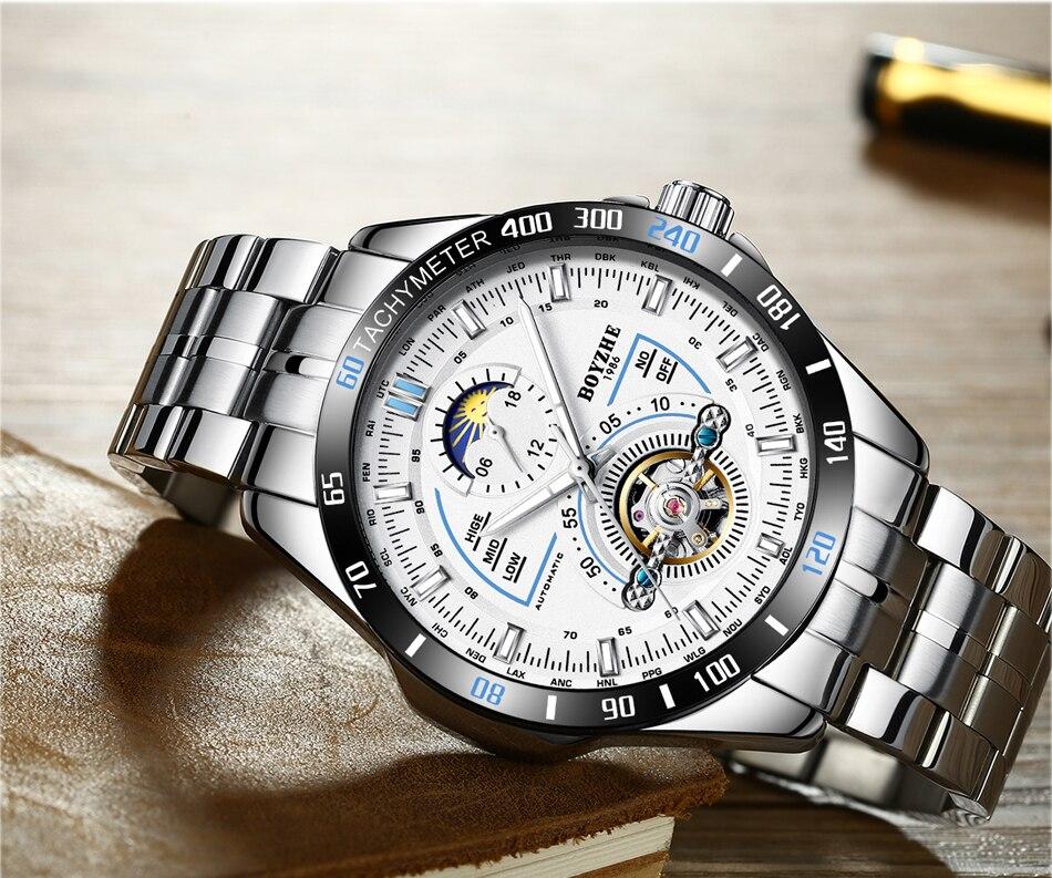 BOYZHE hommes automatique mécanique haut tendance marque montres de sport Tourbillon Phase de lune montre en acier inoxydable Relogio Masculino - 3