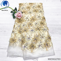 Beautifical african fabric lace french lace fabrics 2018 african tulle lace fabric 5yards/piece with rhinestones beads MX5N327