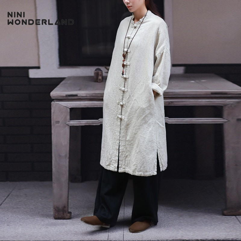 NINI WONDERLAND Spring Autumn Natural Linen Trench Coat Women Loose Cardigan Outerwear Female Mori Girl Big Size Casual Coat