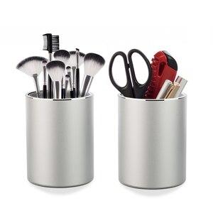 Image 1 - Vaydeer portalápices y portalápices de Metal, organizador de escritorio redondo de aluminio y caja de almacenamiento de tazas