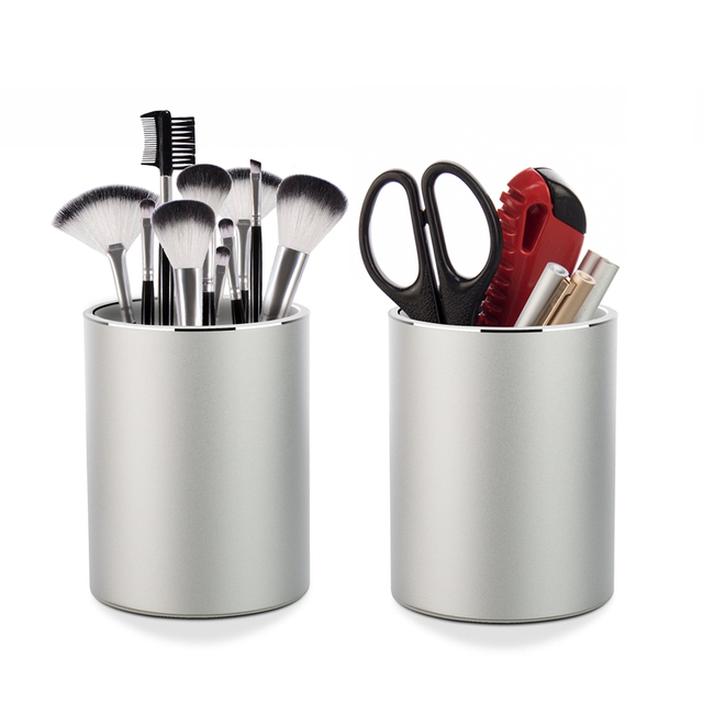 Vaydeer portalápices y portalápices de Metal, organizador de escritorio redondo de aluminio y caja de almacenamiento de tazas