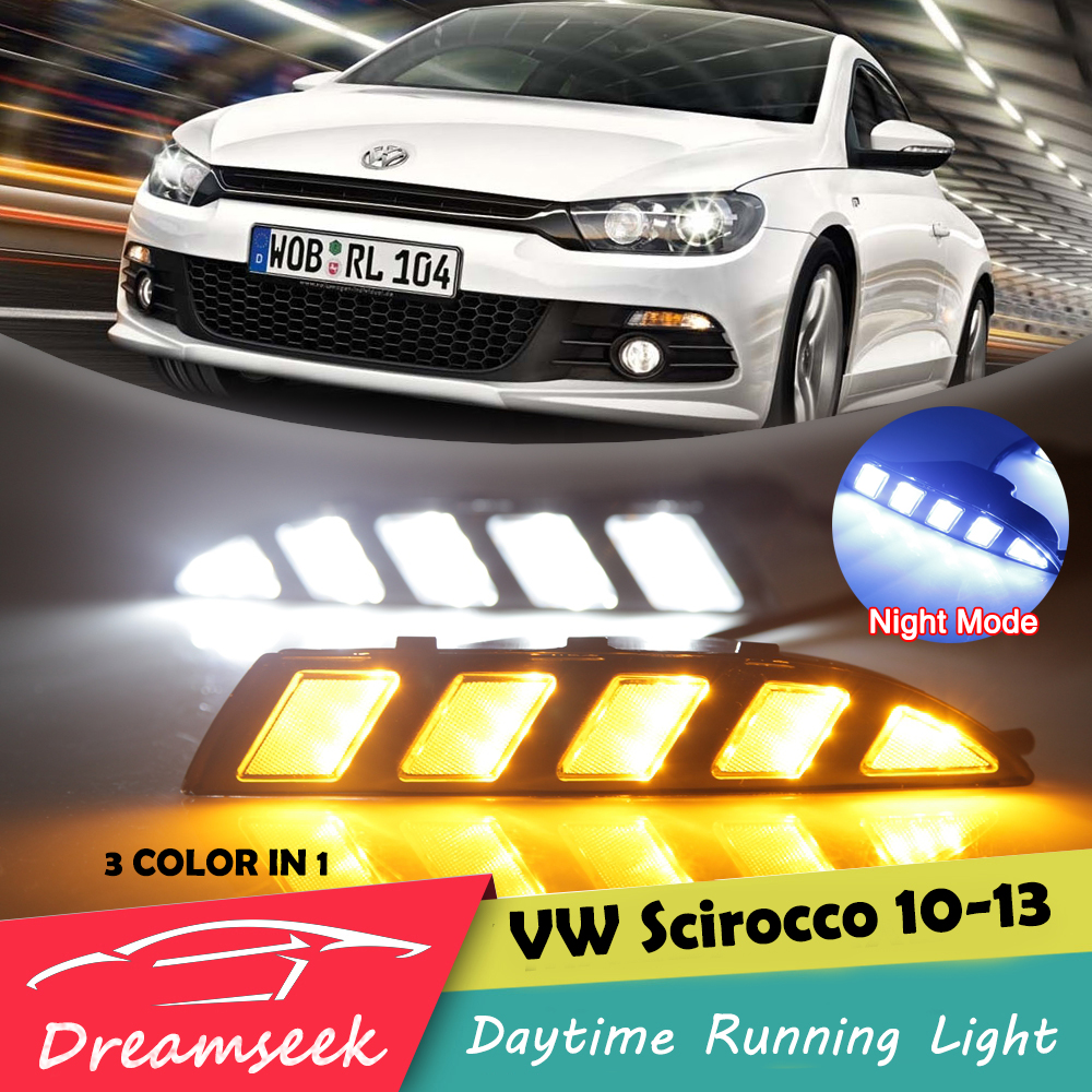 3 Color LED DRL For VW Scirocco 2010 2011 2012 2013 2014 Daytime Running Light With