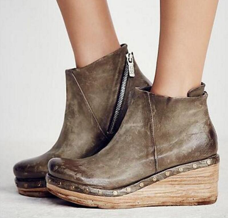 6152c84cc Ta0197 Zapatos Cuña Khaki Chaussure Botas Damas Cuero Pu Las Mujeres  Femenino Niñas Bombas Sapato Botines Plataforma De ...