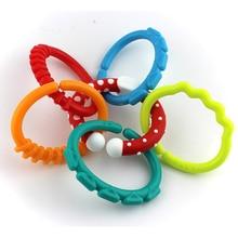 Teething-Ring Rainbow-Crib Sensory Toys Baby Ce 6pcs Bracelet Rattle Stroller-Link Bed