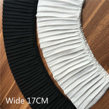17CM Wide Luxury White Black Pleated Chiffon Fold Lace Ruffle Trim Ribbon Dress Collar Lace Applique Guipure For Sewing Supplies недорого