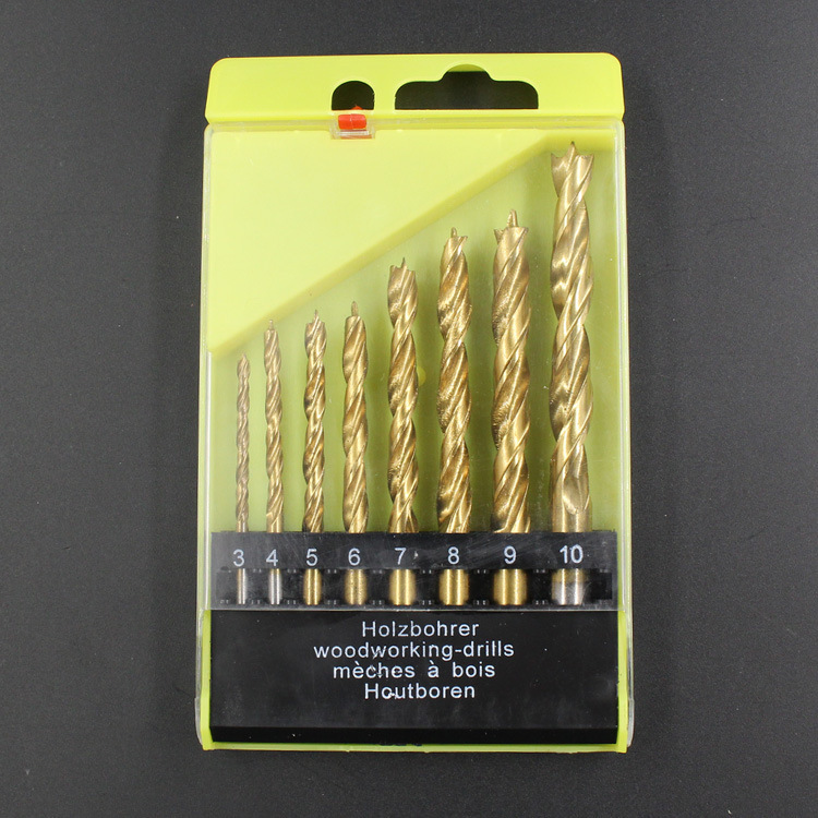 Drill Bits Hand & Power Tool Accessories 100% Quality 8pcs Titanium-plated Woodworking Three-point Drill Bit Set Wood Timber Drilling Tool Clearing Woodworking Drill Set 3-10mm With The Most Up-To-Date Equipment And Techniques