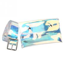 Women Phone Bag Clear Plastic Belt Pouch Hologram Fanny Transparent Waist Pack Bum Mobile Phone Bag holographic belt purse