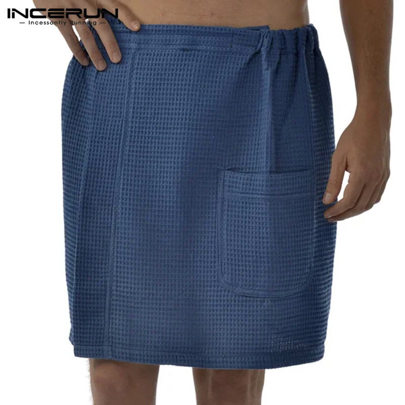 Mens Bath Skirt Bathrobes Homewear Elastic Waist Solid Color Cotton Fashion Leisure Beach Men Skirts Pajamas 2020 S-5XL INCERUN