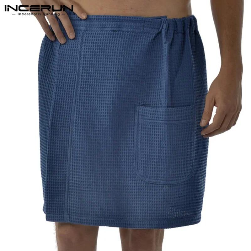Mens Bath Skirt Bathrobes Homewear Elastic Waist Solid Color Cotton Fashion Leisure Beach Men Skirts Pajamas 2020 S-5XL INCERUN