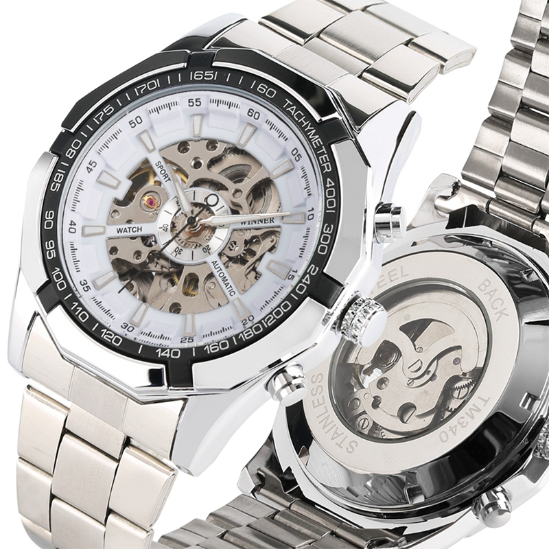 WINNER Sports Automatic Watch Man Round Dial Skeleton Mechanical Watches Full Stainless Steel Band Clock Male Relogio Masculino in Mechanical Watches from Watches