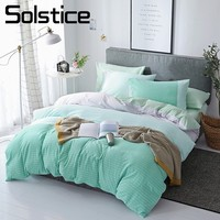 Solstice Home Textile Green Stripe Nordic Simple Bedding Sets Queen Full Duvet Cover Pillowcase Flat Sheet Girl Child Bed Linens