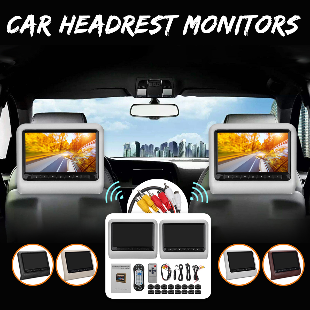 9 inch Car Headrest Monitor DVD Player  +AV Player Monitor Remote Controller with Cable kit LCD Screen Car Digital video Game9 inch Car Headrest Monitor DVD Player  +AV Player Monitor Remote Controller with Cable kit LCD Screen Car Digital video Game