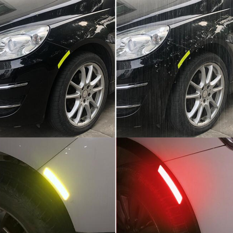 4pcs Car Wheel Rim Eyebrow Reflective Warning Strip Stickers Safety Warning Light Reflector Protective Sticker JY-101