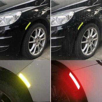 4pcs Car Wheel Rim Eyebrow Reflective Warning Strip Stickers Safety Warning Light Reflector Protective Sticker JY-101